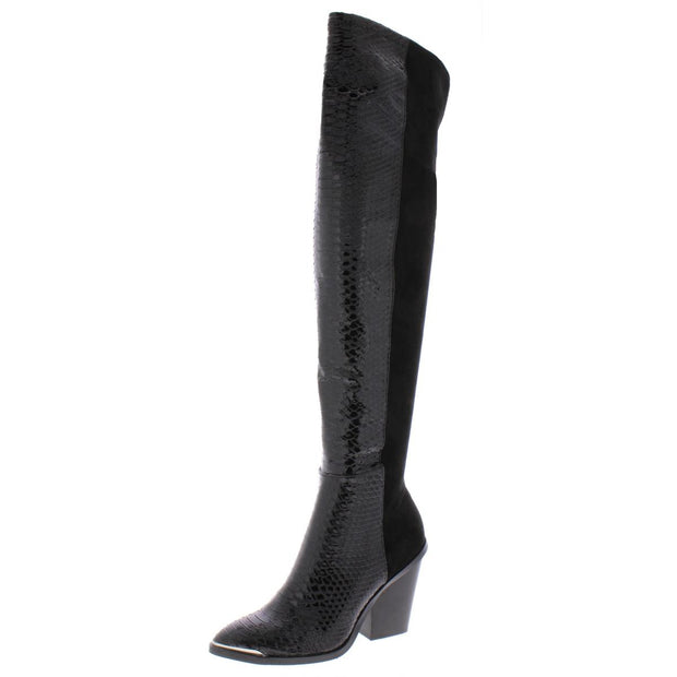 Jethro Womens Faux Suede Snake Over-The-Knee Boots