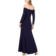 Vince Camuto Womens Off-The-Shoulder Embellished Evening Dress