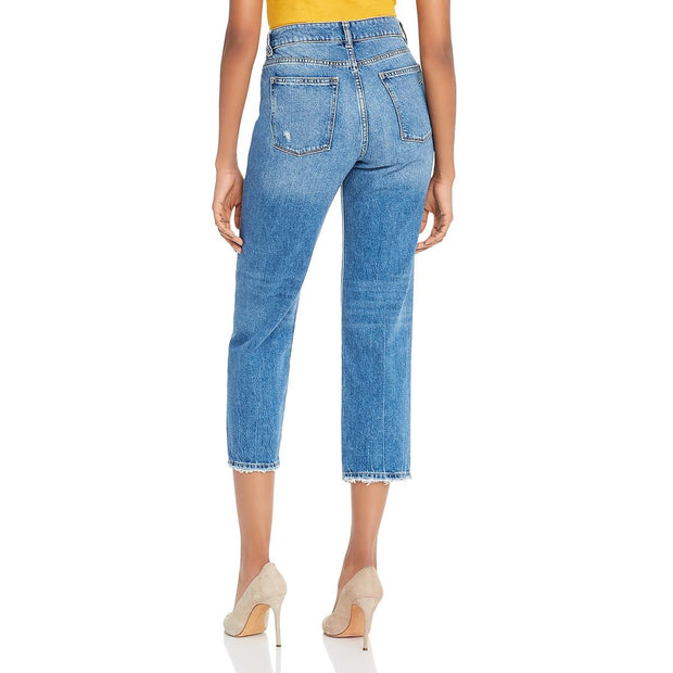 Jerry Womens High Rise Denim Straight Leg Jeans