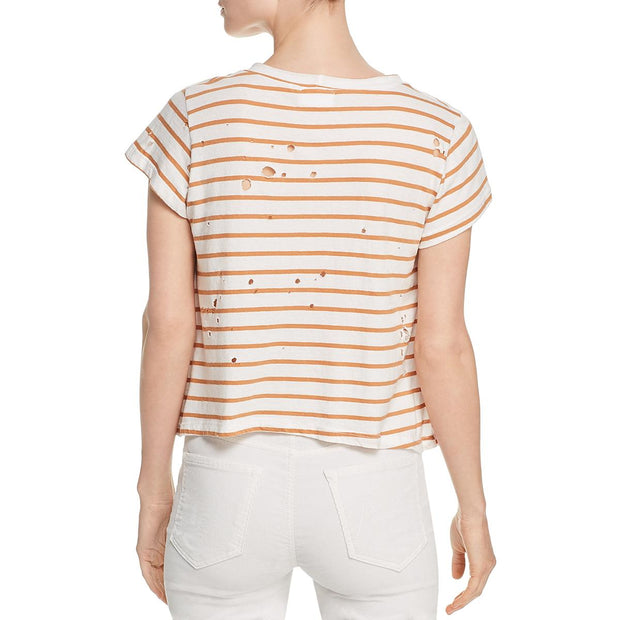 Womens Distressed Striped T-Shirt