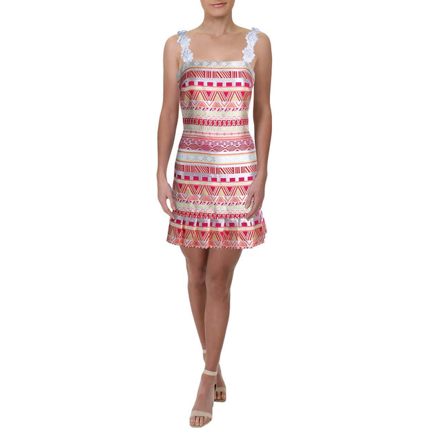 Womens Striped Jacquard Sheath Dress
