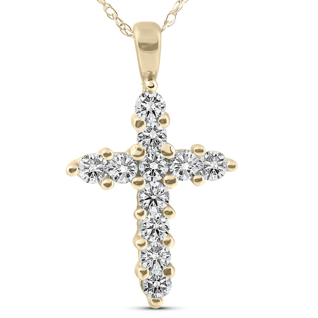 1/2ct Yellow Gold Diamond Cross Pendant 14K Necklace