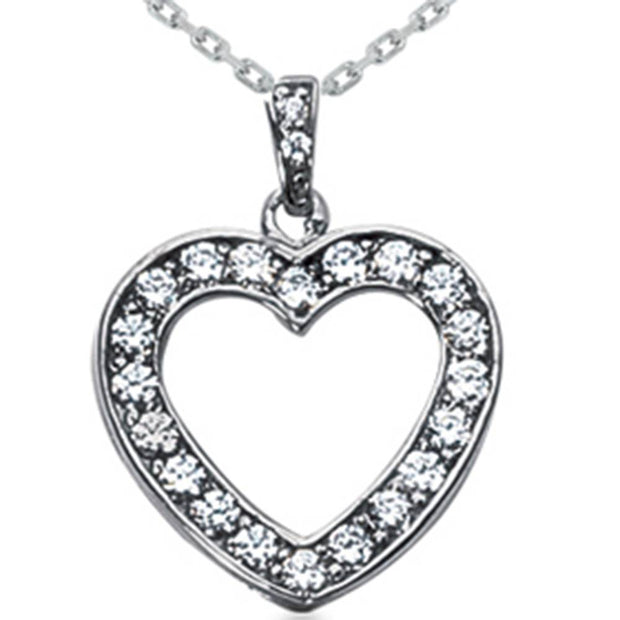 3/4ct Diamond Heart Pendant Solid 14K White Gold Necklace