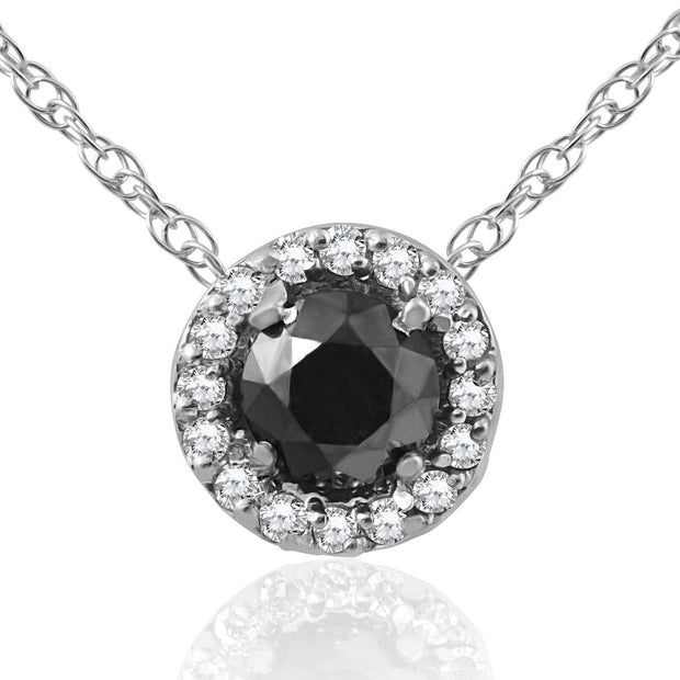 1/2 ct Black & White Diamnd Pave Halo Solitaire Pendant Necklace 14K Whte Gold