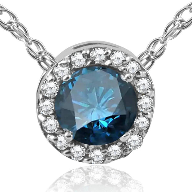 "3/8ct Treated Blue Diamond Round Halo Pendant 10K White Gold W/ 18"" Chain"
