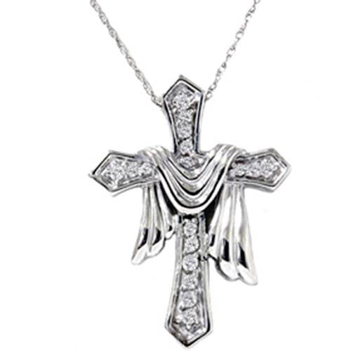 ".25Ct Diamond Cross Solid 14K White Gold Women's High Polished Pendant 18"" Chain"