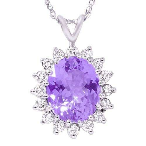 5 1/2ct Amethyst Diamond Pendant 14K White Gold