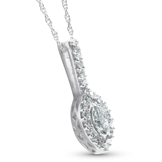 1/2CT Marquise Halo Pave Diamond Solitaire Pendant 14K White Gold