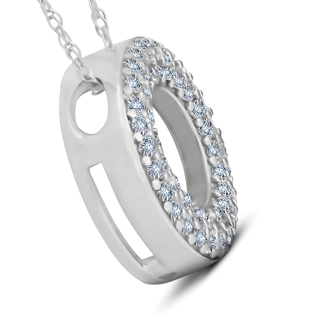1/4ct Circle Of Life Puff Diamond Eternity Pave Pendant 14k White Gold