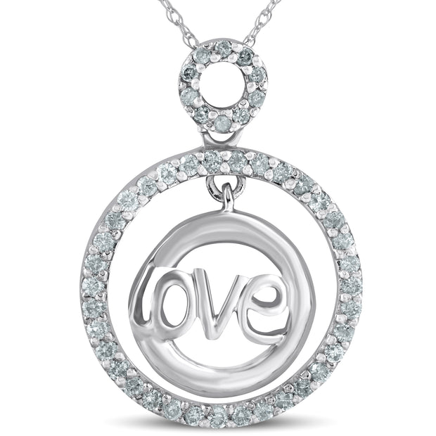 14k White Gold 1/2ct Diamond Love Circle Pendant Womens Necklace