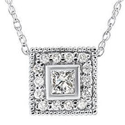 1/3ct Diamond Princess Cut Halo Vintage Pendant 14K White Gold