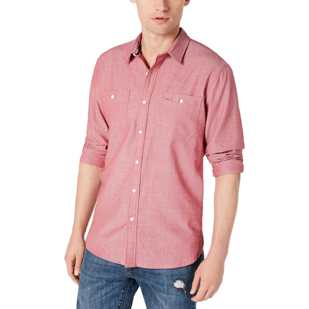 American Rag Mens Cotton Herringbone Button-Down Shirt