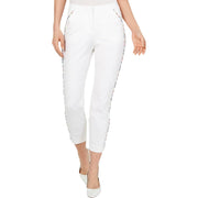 Womens Striped Trim Comfort Waist Skinny Pants