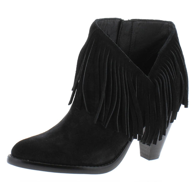 Jewels Womens Suede Fringe Ankle Boots