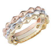14k Tricolor Gold Triple Band Stackable Style Ring