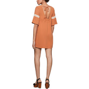 Womens Embroidered Flutter Sleeve Mini Dress