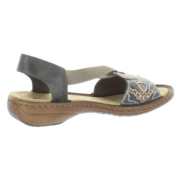 Regina Womens Metallic Embroidered Slingback Sandals