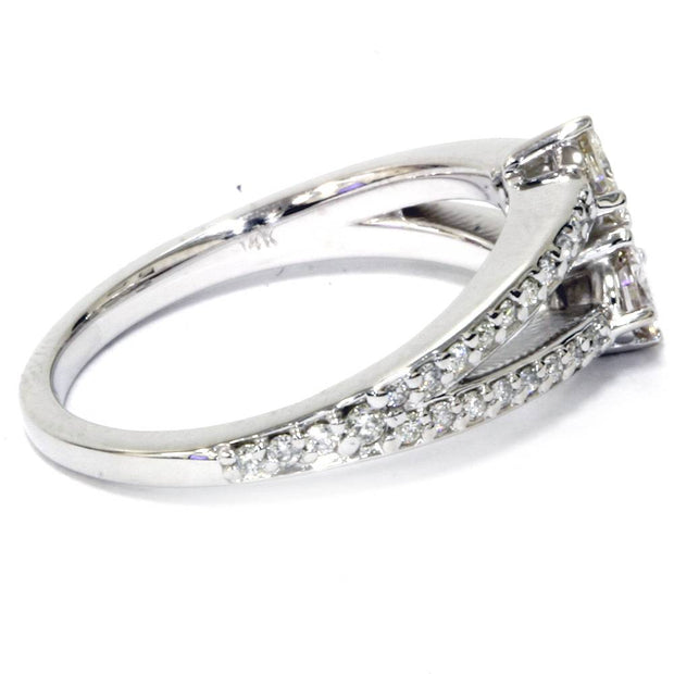 5/8 Carat 2 Stone Forever Us Diamond Engagement Ring 14K White Gold
