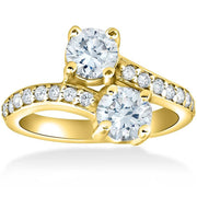 2 Ct Forever Us 2 Stone Diamond Engagement Ring 14k Yellow Gold