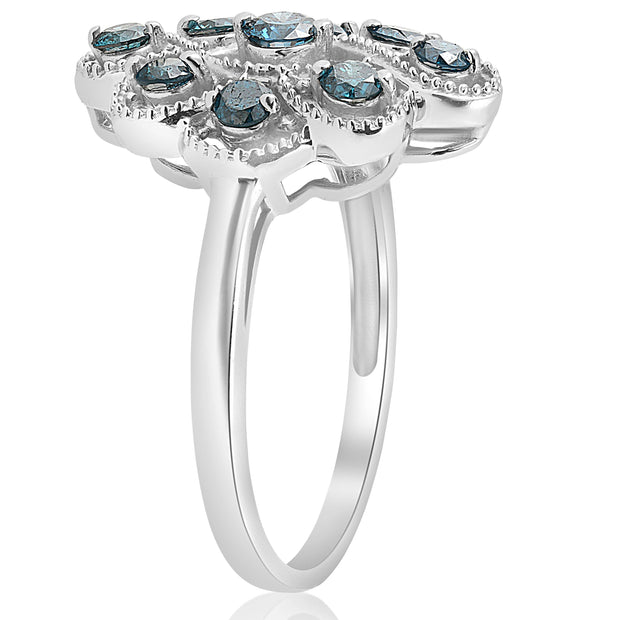 5/8ct Vintage Blue Diamond Womens Anniversary Ring 14K White Gold Jewelry