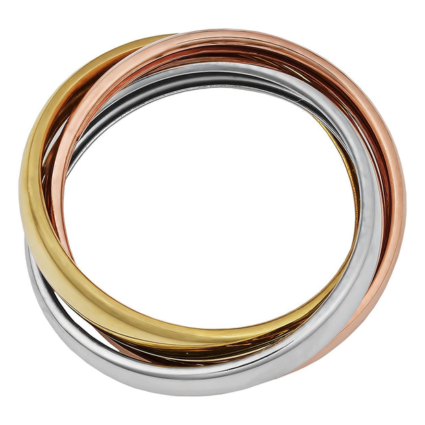 14K Gold Trinity Tri-Color Hollow Rolling Ring