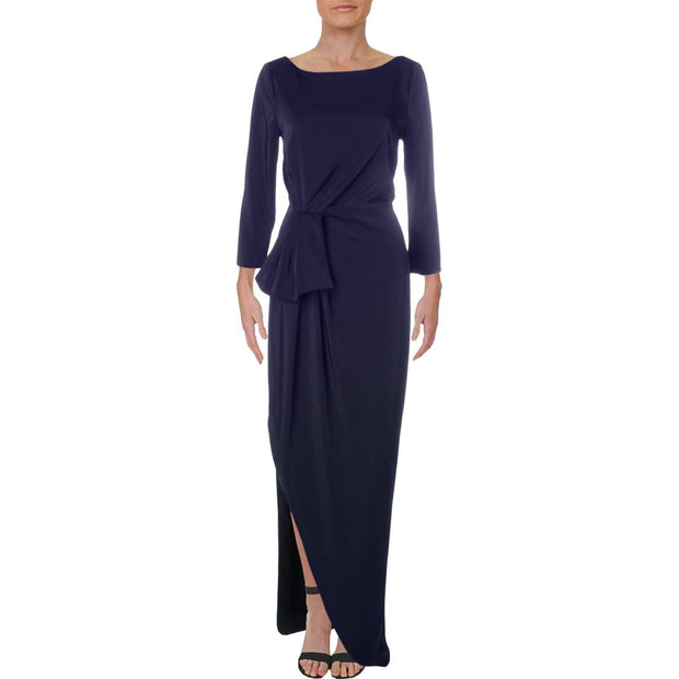 Kay Unger New York Womens Ruched Sheath Evening Dress
