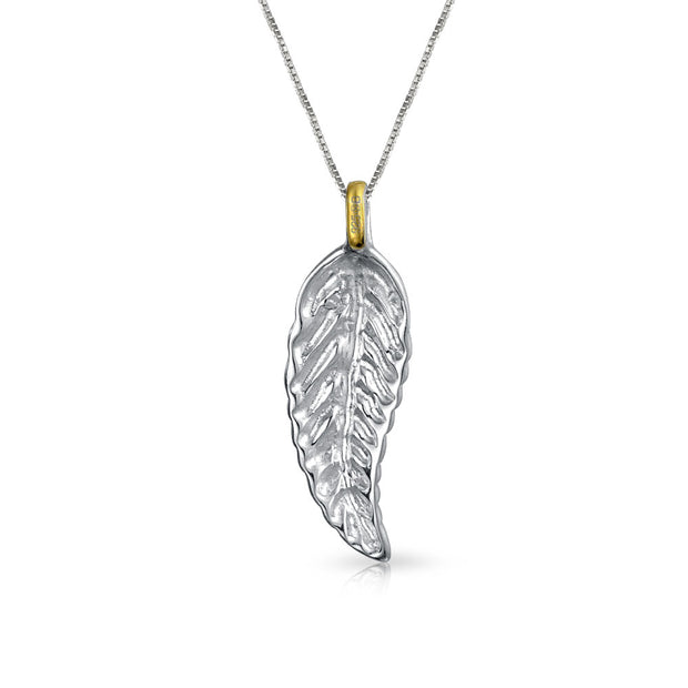 Two Tone Nature Leaf Dangle Pendant Necklace For Women 14K Gold Plated 925 Sterling Silver 16 Inch