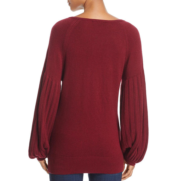 Ella Moss Womens Francesca Wool Blend Pullover V-Neck Sweater