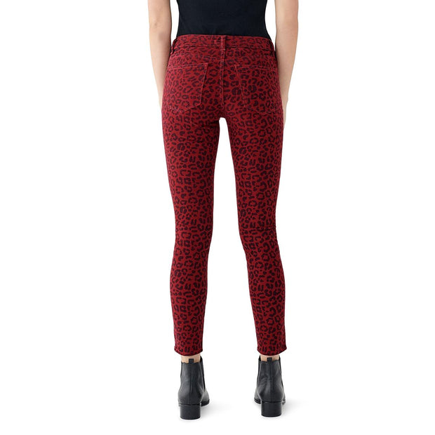 Womens Tencel Animal Print Colored Skinny Jeans
