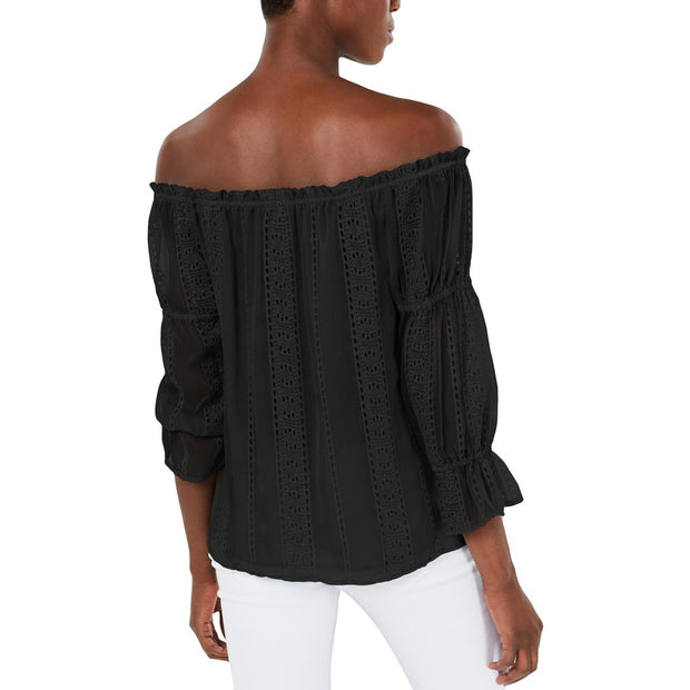 Womens Sheer Eyelet Blouse