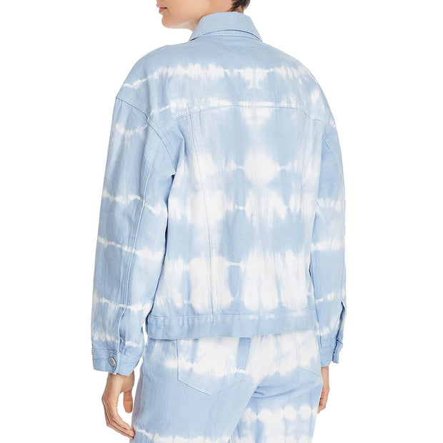 Blank NYC Womens Tie-Dye Oversized Denim Jacket