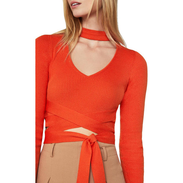 Womens Mock Neck Back Tie Sweater