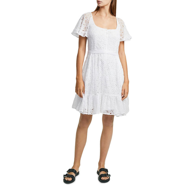 Womens Eyelet Scoop Neck Casual Dress