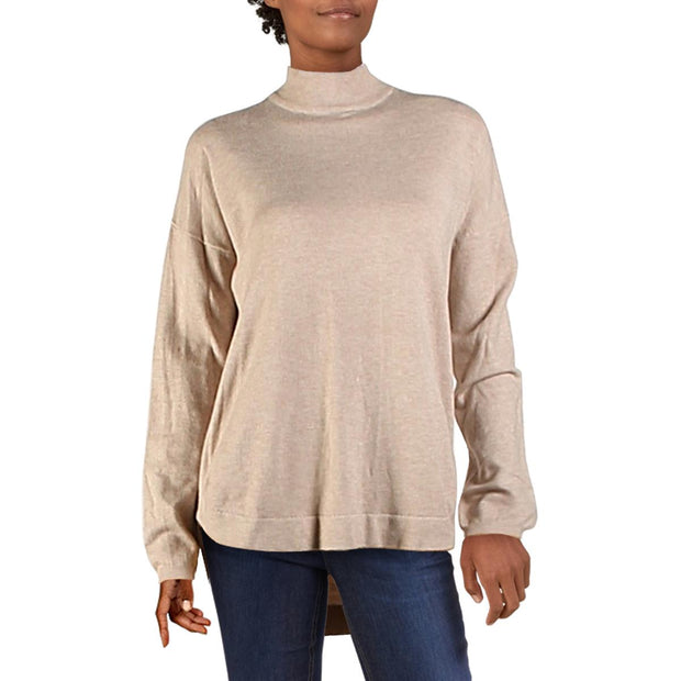 Womens Knit Ribbed Trim Pullover Sweater