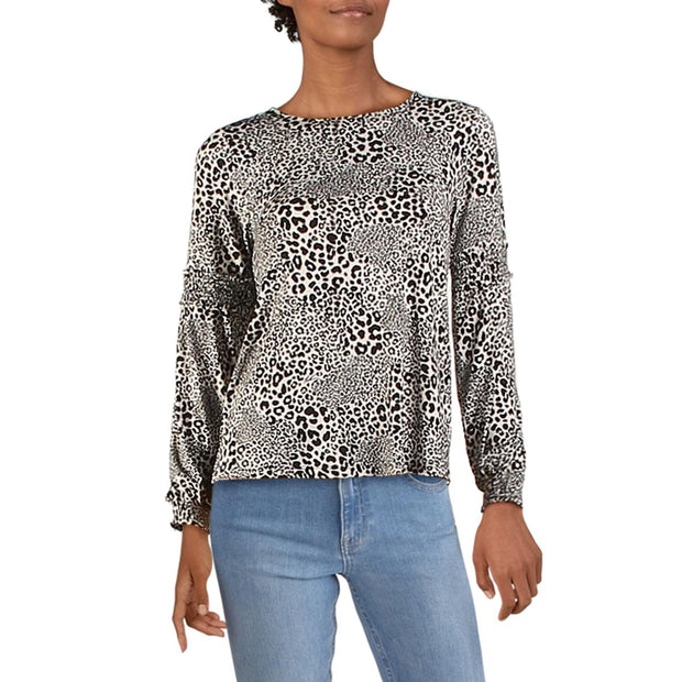 Womens Knit Cheetah Print Blouse