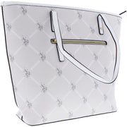 Womens Faux Leather Trim Printed Tote Handbag