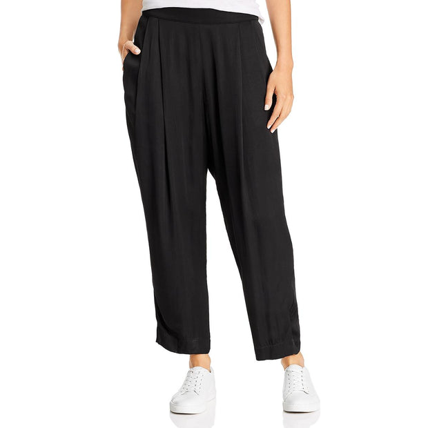 Hillary Womens Satin Pleated Cropped Pants