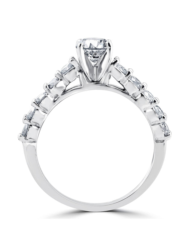 2 1/15ct Diamond Engagement Ring With Matching Wedding Band 14K White Gold