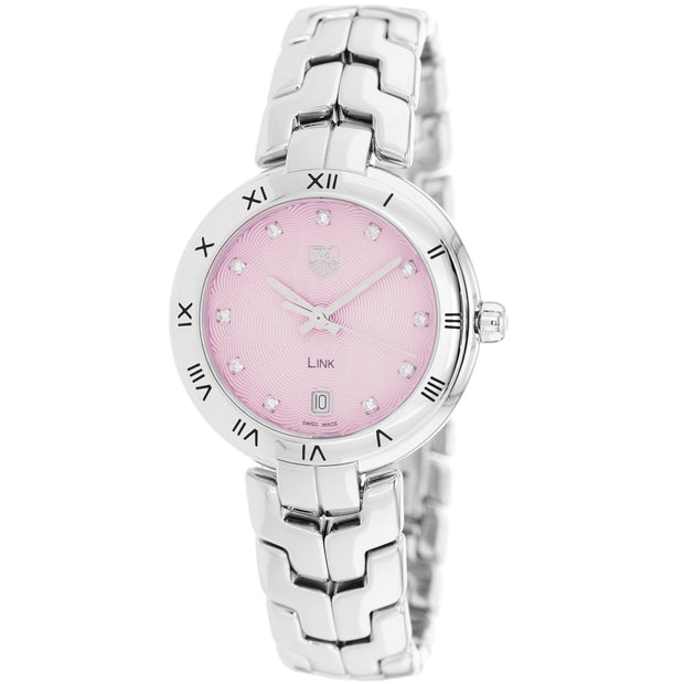 Tag Heuer Women's Link Pink Guilloche Diamond Dial Watch - WAT1313.BA0956