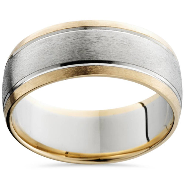 8mm Mens 14K White & Yellow Gold Sandblast Double Inlay Wedding Band