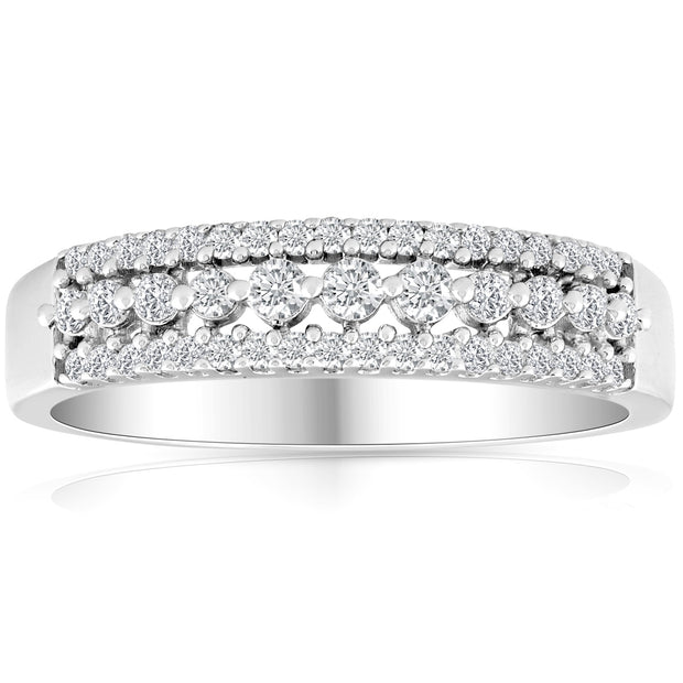 1/3ct Diamond Anniversary Wedding Ring 10K White Gold Womens Pave Wedding Band