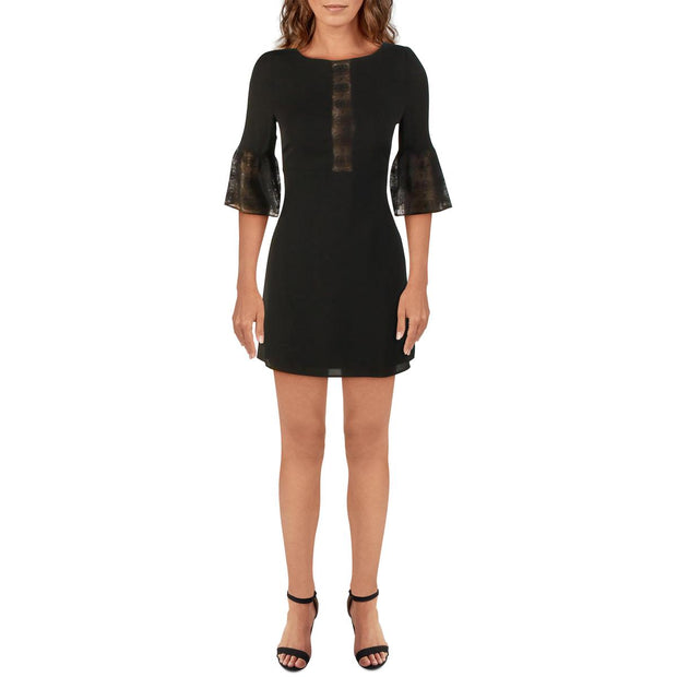 Womens Bell Lace Sleeves Mini Cocktail Dress