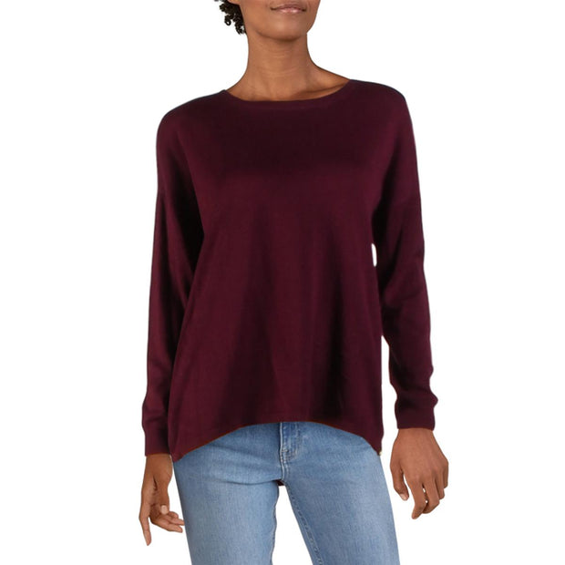 Philosophy Womens Cashmere Blend Side Zippers Crewneck Sweater