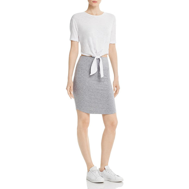 Womens Heathered Tie-Waist Casual Dress