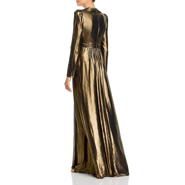 Rachel Zoe Womens Rosalee Metallic V-Neck Evening Dress