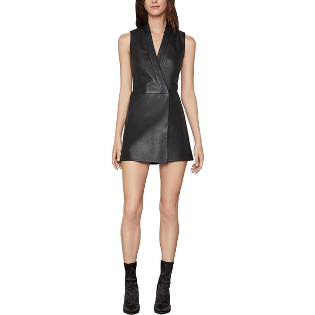 Caryn Womens Faux Leather Asymmetric Wrap Dress