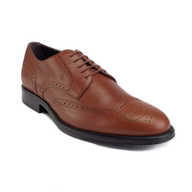 TOD'S Men's Leather Derby Brogue Oxford Dress Shoes Light Brown