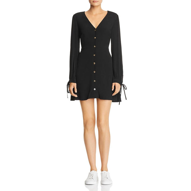 Babi Womens Button-Down Tie Sleeves Casual Dress