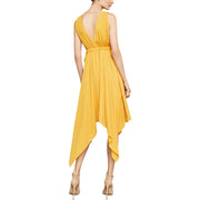 Womens Asymmetric Handkerchief Midi Dress