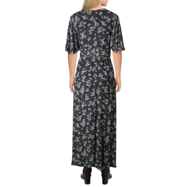 Ansa Womens Crepe Floral Maxi Dress